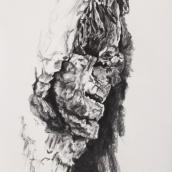 """""""Être de bois N°3"""" - 50 cm x 70 cm - 2017 - fusain naturel sur papier"""