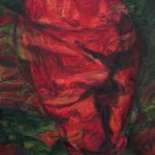 """""""Fleur-coeur"""" - 30 cm x 40 cm - 2017 - Huile sur toile"""